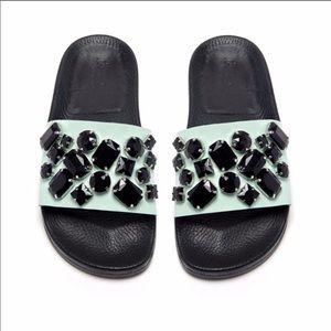 Randall Loeffler Mint & Black Jeweled Slides